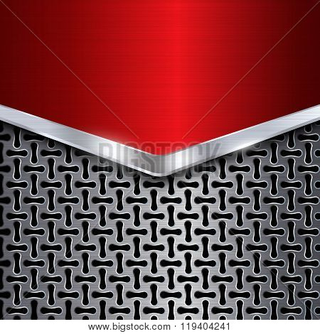 Metal Background. Red Chrome. Metal Grid. Vector Illustration
