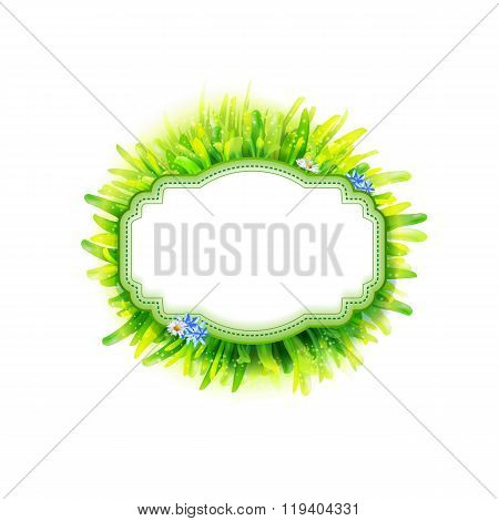 Empty vintage label with green grass