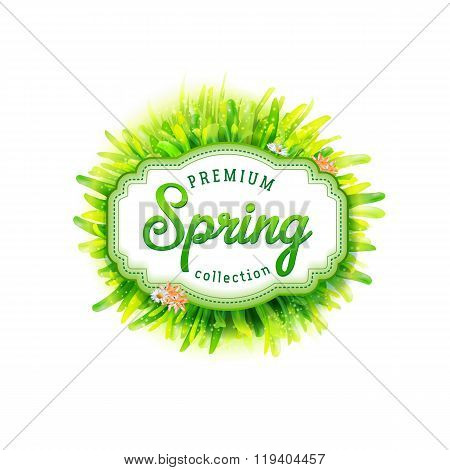 Premium Spring collection vector label