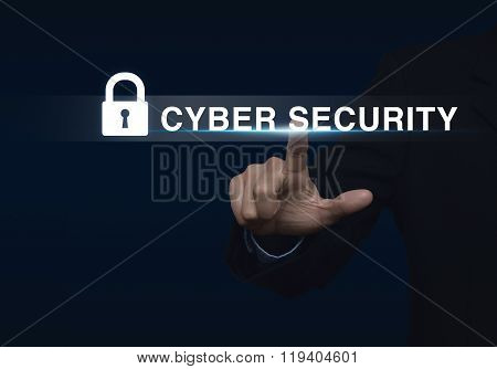 Businessman Pressing Security Button On Virtual Screen, Technology Information Security And Data Enc
