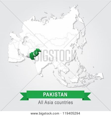 Pakistan. All the countries of Asia. Flag version.