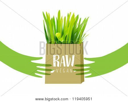 Bio bag with green grass and hands