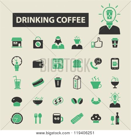 drinking coffee icons, drinking coffee logo, drinking coffee vector, drinking coffee flat illustration concept, drinking coffee infographics, drinking coffee symbols,