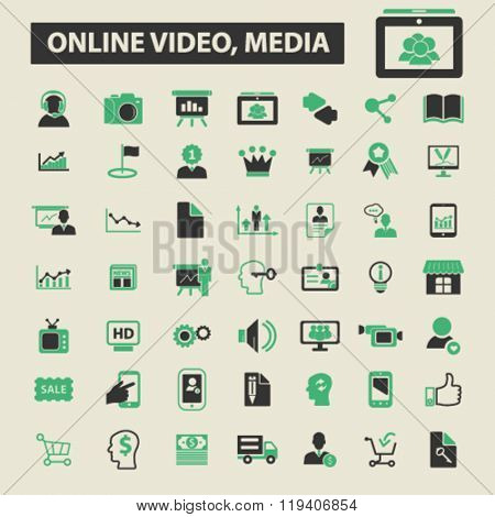 online video, media icons, online video, media logo, online video, media vector, online video, media flat illustration concept, online video, media infographics, online video, media symbols,