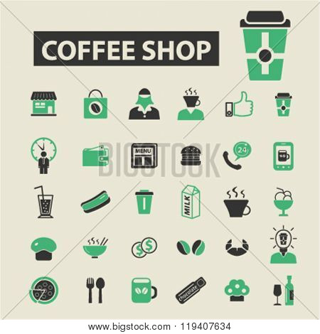 coffee shop icons, coffee shop logo, coffee shop vector, coffee shop flat illustration concept, coffee shop infographics, coffee shop symbols,