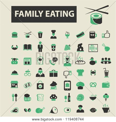 family eating icons, family eating logo, family eating vector, family eating flat illustration concept, family eating infographics, family eating symbols,