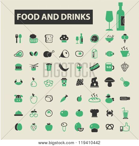 Постер, плакат: food and drinks icons food and drinks logo food and drinks vector food and drinks flat illustrati, холст на подрамнике