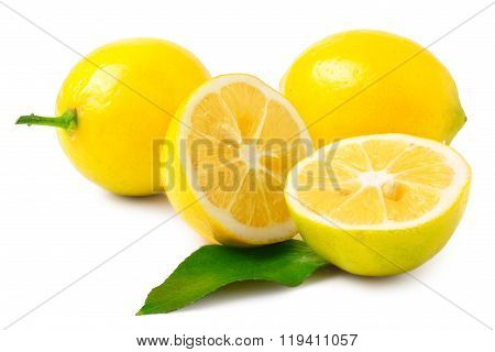 two half lemons and whole on a white background