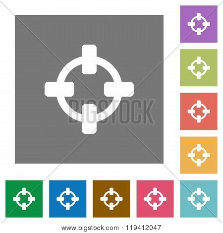 Crosshairs Square Flat Icons