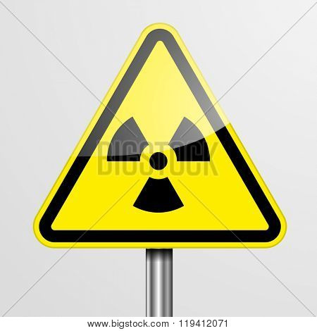 detailed illustration of a yellow Radiation warning sign, eps10 vector