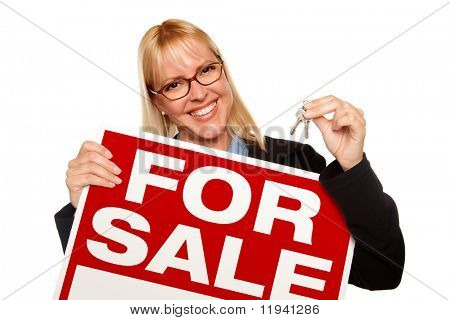 Attractive Blonde Holding Keys & For Sale Sign Isolated on a White Background.