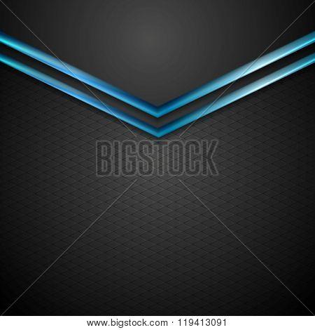 Blue black contrast arrows corporate design. Vector background