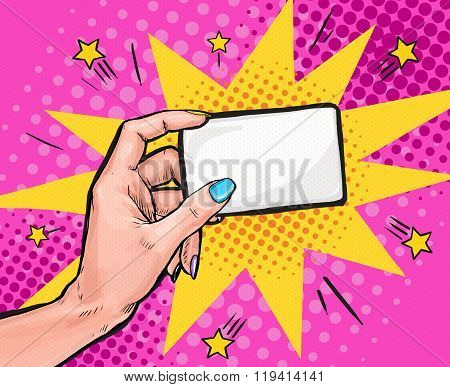 Female hand  holding a card in Pop art style.Pop art background. Party invitation. pop art, pop art design, pop art illustration, bubble, comic,message, business card, visiting card, calling card,info