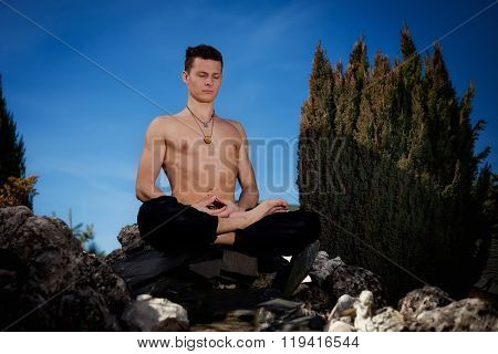 Outdoor Yoga Session In Beautiful Place - Meditation