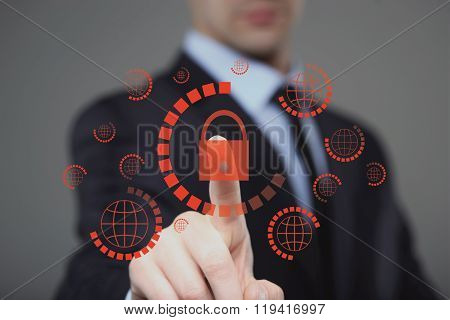 businessman pressing cyber security button on virtual screens