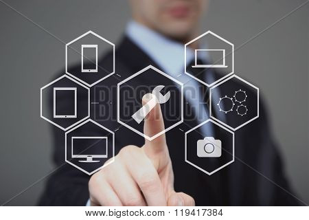 technology, internet and networking concept - businessman pressing technical support button on virtu