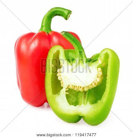 red and half green sweet pepper isolated on white
