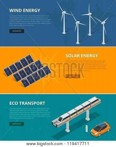 Web backgrounds eco power sources such as wind turbines, solar panels, eco transport. Ecological low