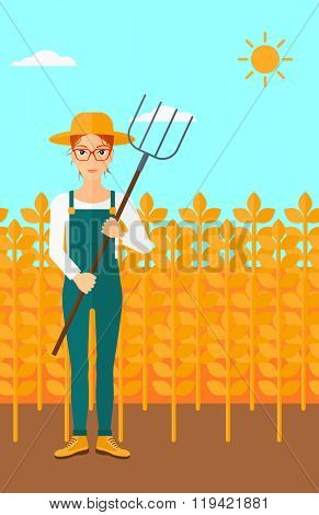 Farmer with pitchfork.