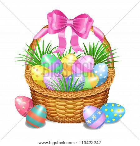 Easter Basket With Color Painted Easter Eggs Isolated On White Background. Easter Eggs In Basket
