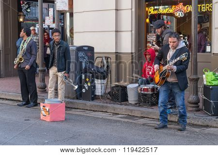 New Orleans, La/usa - Circa February 2016: Band Of Young Musicians Perform At French Quarter, New Or