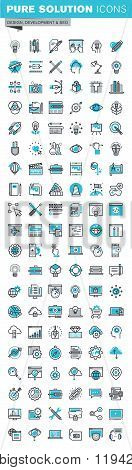 Modern thin line flat design icons set of graphic design and web design