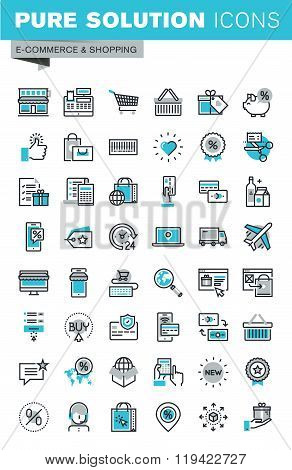 Modern thin line flat design icons set of online shopping