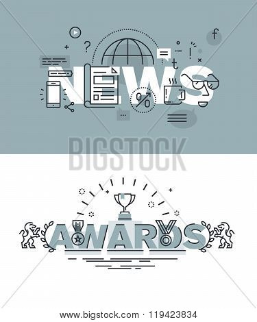 Set of modern vector illustration concepts of words news and awards