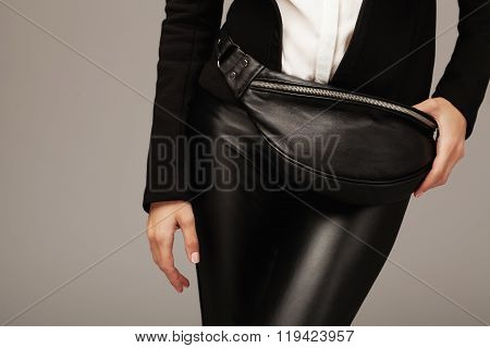 Elegant Woman With A Leather Fanny Pack