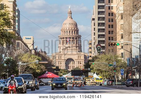 Austin, Tx/usa - Circa February 2016: Texas State Capitol Seen From Congress Avenue In Austin,  Tx