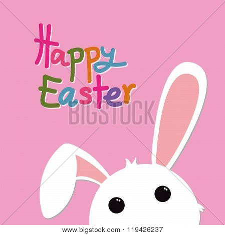 Easter Rabbit On Pink And Colorful Text