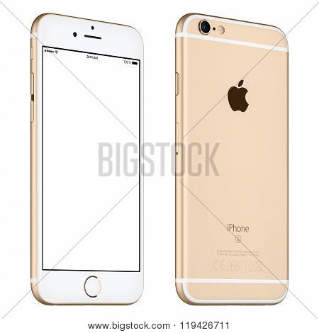Gold Apple Iphone 6S Mockup Slightly Rotated Front View With White Screen And Back Side With Logo