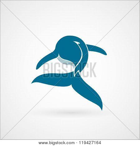 Blue Whale Logo Sign Emblem Isolated On White Background