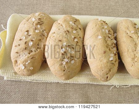 Small salt and caraway breads