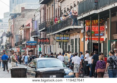 New Orleans, La/usa - Circa March 2009: People Tourists On The Streets Of French Quarter In New Orle