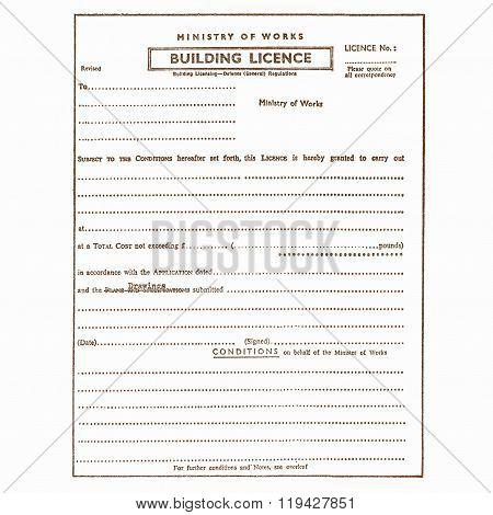 Building Licence Planning Permis Vintage
