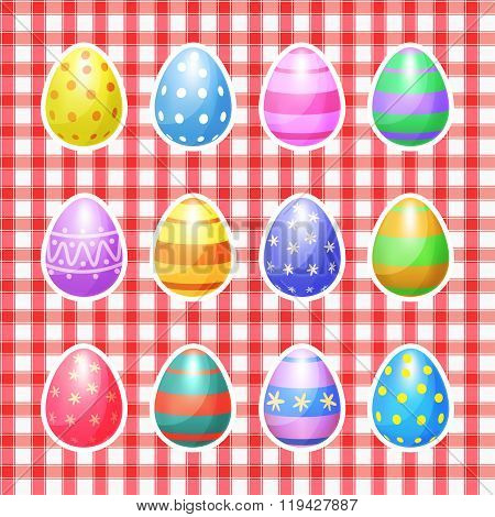 Set Of Color Easter Eggs Vector Icons. Easter Eggs For Easter Holidays Design. Easter Eggs Vector