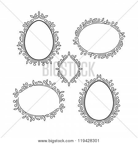 Set of Elegant Linear Floral Frames