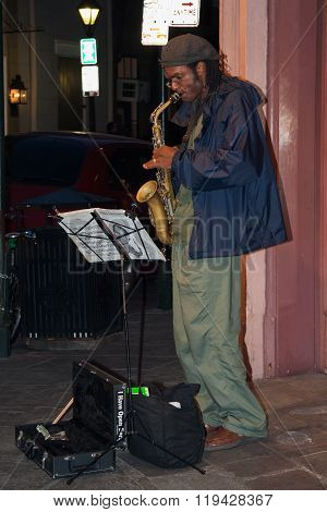 New Orleans, La/usa - Circa March 2009: Musicians Perform Using Saxophone At French Quarter, New Orl