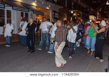 New Orleans, La/usa - Circa March 2009: People Playing Music And Dancing At French Quarter, New Orle