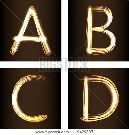 Fire show Letters A,b,c, D