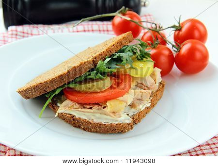 big healthy sandwiches made with whole grain bread