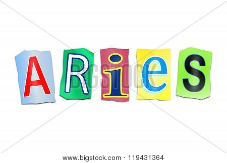 Aries Word Concept.