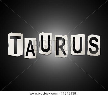 Taurus Word Concept.