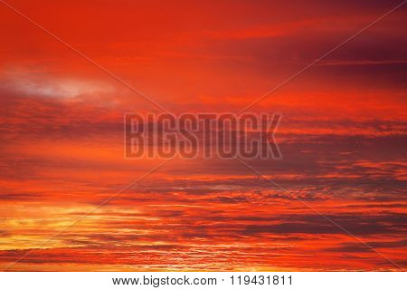 Bright orange red and yellow colors sunset sky. Apocalyptic sunset sky Background