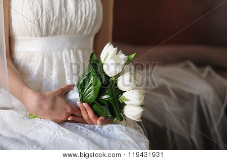 White Tulips In Hands Of  Bride