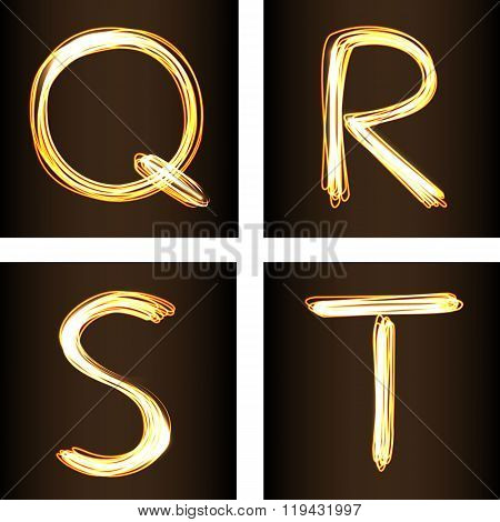 Fire show Style Set Of Letters Q, R, S, And T