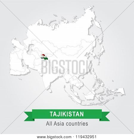 Tajikistan. All the countries of Asia. Flag version.