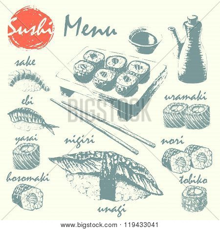 Sushi, Sushimi, Soy Sauce And Chopsticks Sketch Set.