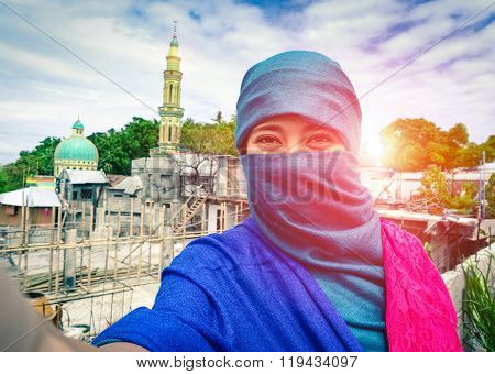 Beautiful Muslim Woman Taking Selfie In Traditional Islamic Clothes - Arabic Girl  Portrait
